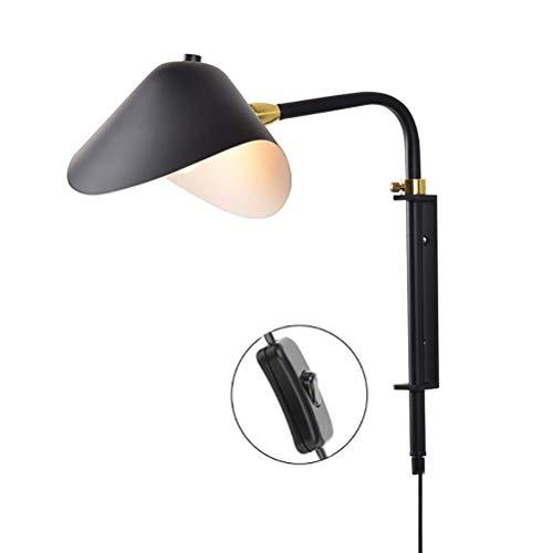 E27 Aplique de pared Lámpara de lectura de pared de brazo largo con interruptor, Lámpara de pared de metal negro con enchufe de cable de 2.0 M, Pantalla ajustable, para la iluminación de la mesita de