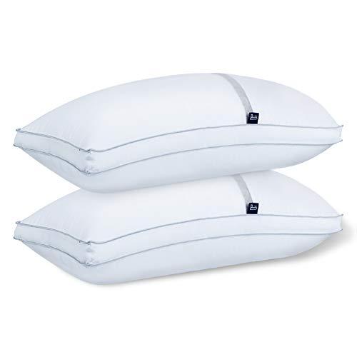 BedStory【Nueva Versión Almohada Antiácaros 42 x 70 cm Pack 2 Almohadas de Hotel Almohada con Relleno de Microfibra y Tejido Antialérgico para Dormir de Lado y Boca Arriba
