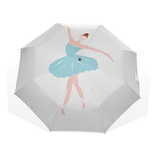 Ausklappbarer Regenschirm Niedliche Balletttänzerin Mädchen Ballerina 3 Faltbare Kunstschirme (außerhalb des Drucks Zusammenklappbare Regenschirme Kompakter Leichter Sonnenschirm für Männer Kompakte