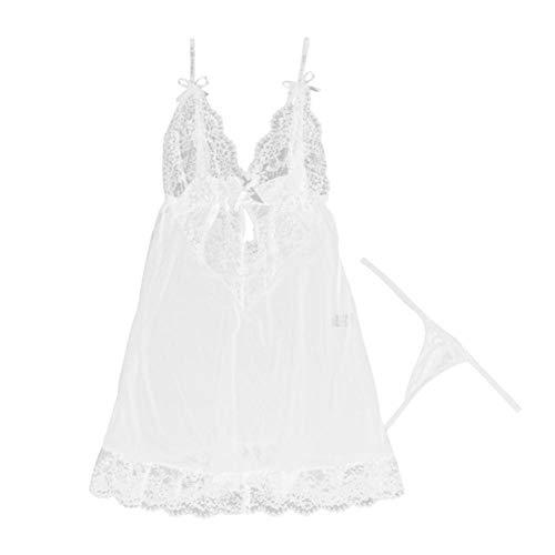 Dessous für Frauen Lace Nachthemd Anzug Nachtwäsche Kleid erotische Unterwäsche Set-White_M