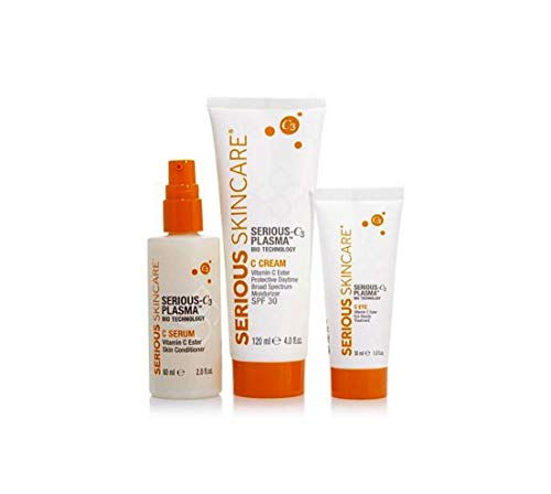 Serious Skincare Serious C3 Plasma Double Size Trio Serious C3 Plasma Vitamin C Double Size Trio Facial Cream SPF30, Eye Treatment & Serum