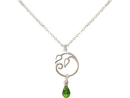 Gemshine - Collar - Colgante - Plata de Ley - Hojas de la Vid - Olivina - Lágrima - Gota - Verde - YOGA - 45 cm