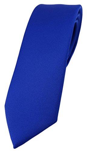 TigerTie schmale Designer Krawatte in dunkles royalblau einfarbig Uni - Tie Schlips