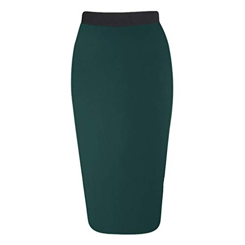 〓COOlCCI〓Womens Elegant Knee Length Slim Fit Skirt Stretch Wear to Work Stretch Business Office Pencil Skirts Green