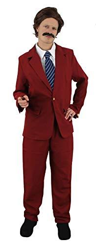 I LOVE FANCY DRESS LTD Disfraz DE REPORTERO para Adultos Estilo AÑOS 70S Smoking con Corbata, Peluca Y Bigote Fiestas TEMATICAS (L)