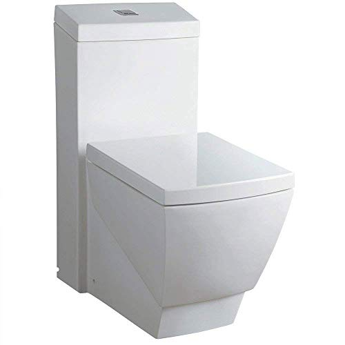 WoodBridge T-0020 Dual Flush Elongated One Piece Toilet with Soft Closing Seat, Deluxe Square Design   White B0920