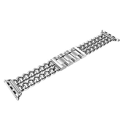 ZJSXIA Correa de reloj, correa de acero inoxidable de 38/42/40/44 mm, correa de cadena de mezclilla para hombres y mujeres (color: para 38 mm, tamaño: oro)