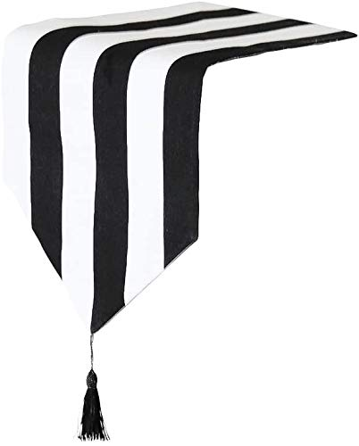 zachking Western Classic Black and White Striped Table Runner for Home Decor,12'x63'