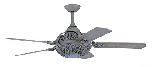 Pepeo Retro Santa - Ventilador de techo con luz e interruptor de pared, gris, 132 cm