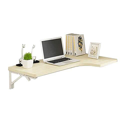 WTT - Wandgemonteerde opklaptafel, houten opklapbare hoektafel, eettafel en computerbureau, witte esdoornkleur (afmetingen: 100x70x50cm)
