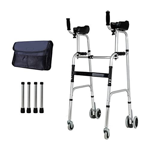 Ayuda para Caminar,Andador De Bipedestación,Plegable Movilidad Ayuda A Caminar,2 Ruedas,Andador para Ancianos Sin Ruedas,aleación De Aluminio Puede Soportar 400ib