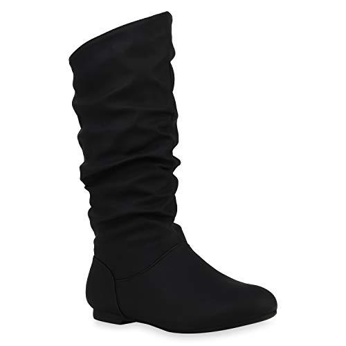 Damen Schlupfstiefel Warm Gefütterte Stiefel Leder-Optik Schuhe 153344 Schwarz Carlet 41 Flandell