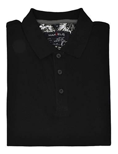 Marvelis Poloshirt Pique Basic schwarz Halbarm Reine Baumwolle, Größe:L