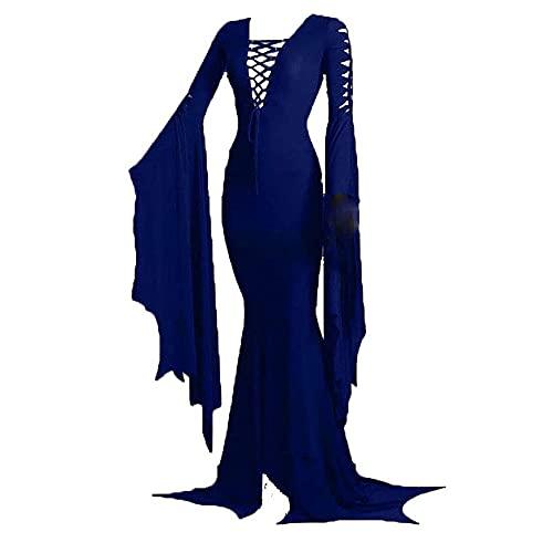 Hongsuny Vestido de Piso de Morticia Addams para Mujer Vestido de Fiesta de Bruja gótico Vintage Medieval Vestido Largo Delgado y Hueco Sexy Fiesta de Halloween Disfraz