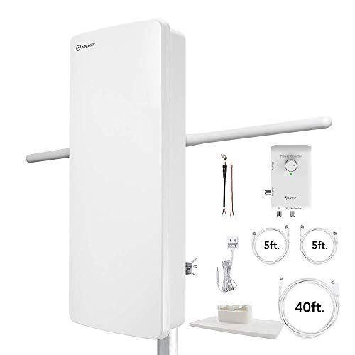 Antop at-800SBS HDTV/ Fm Amplified Antenna with Noise-Free 4G LTE Filter & Smart Boost System for Dual Connectivity, Support TV and A Second Device (Renewed)