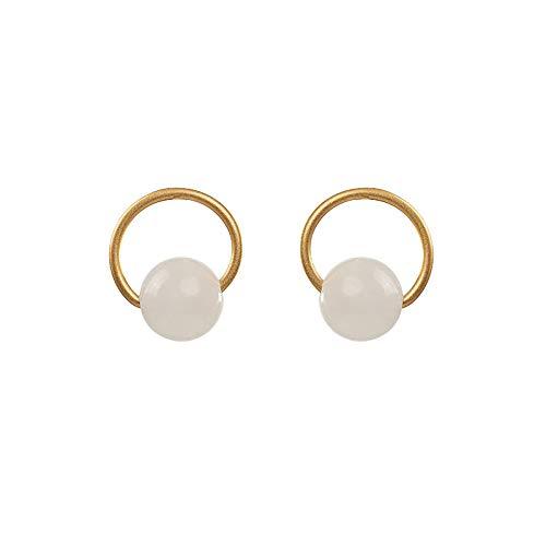 THTHT Vintage S 925 zilveren oorbellen voor vrouwen eenvoudige oorstekers inlay witte jade transfer parels gouden ring fashion court creatieve temperament elegant geschenk 3D