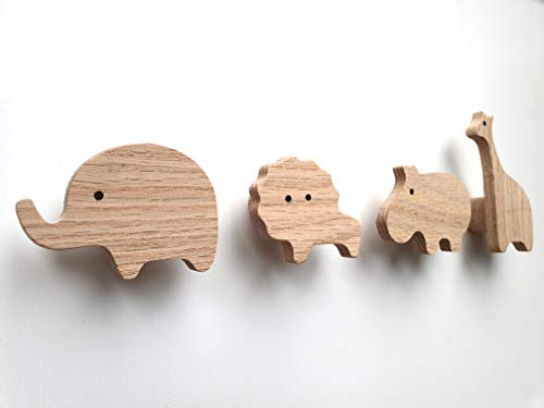 PLT Wandhaken für Kinder aus Holz, Tiere, Kinder, Kinderzimmer, Löwe, Elefant, Nilpferd und Giraffe, Deko, Kleiderhaken, Garderobe, Garderobenhaken, Scandi-Style, Geschenkidee