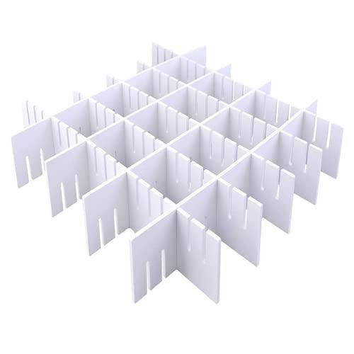 Divisori per Cassetti Regolabili in Plastica, 42x9CM Organizzatori Modulare, Griglia Organizer Armadio o Desktop per Bagno Cucina o Ufficio, Ordine Calze e Slip (Bianco) Versatili Separatori HGYZE