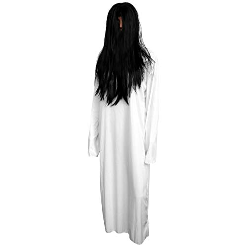 NUOBESTY Halloween Costume Scary Sadako Cosplay Costume Horror White Zombie Kits Halloween Dress Up Outfits for Kids Adult Party