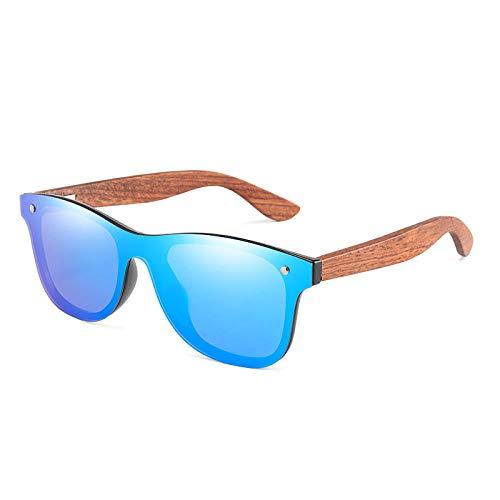 LAOGEFJ Naturholz Sonnenbrille Herren Design Log Polarisierte Sonnenbrille Damen Spiegel Brille Uv400