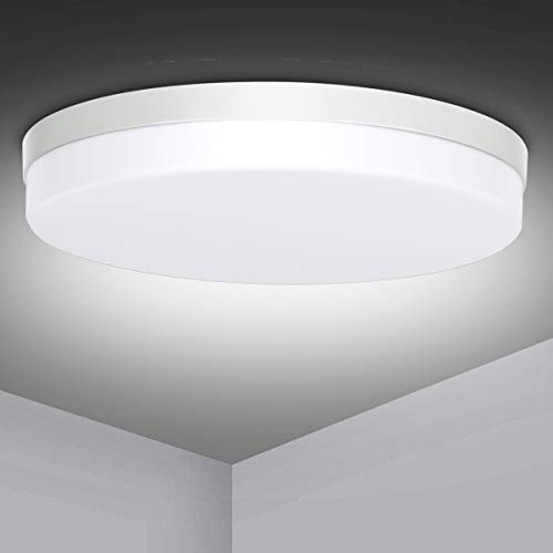 Lámpara de Techo LED, Ouyulong Plafones 24W, Impermeable IP54 2160LM 6500K Luz Fría, Pequeño Ø18cm Redondo Plafon De Techo Adecuado para...