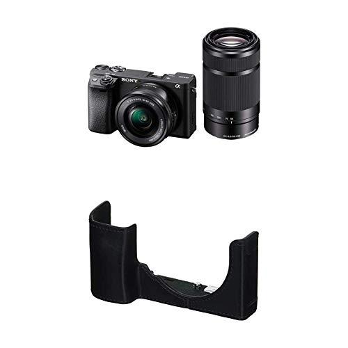 ソニー ミラーレス一眼 α6400 ダブルズームレンズキット SELP1650 F3.5-5.6+SEL55210 F4.5-6.3 SEL55210 ブラック ILCE-6400Y Bソニー 一眼カメラケース ボディケース ブラック LCS-EBE B
