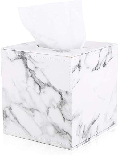 con supporto per tovaglioli CROWNSTARQI Supporto per fazzoletti da bagno colore: bianco marmorizzato 1