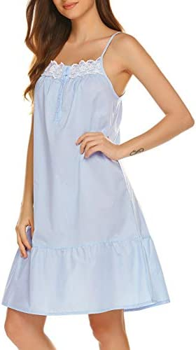 Ekouaer Women Sleepwear Camisole Loungewear Cotton Nightgown with Button Opening Front Blue product image