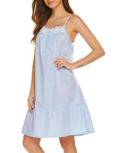 Ekouaer Sleepwear Sleeveless Nightgown Cotton Sleep Dress Victorian Sleepshirt Strap Gown for Women Blue