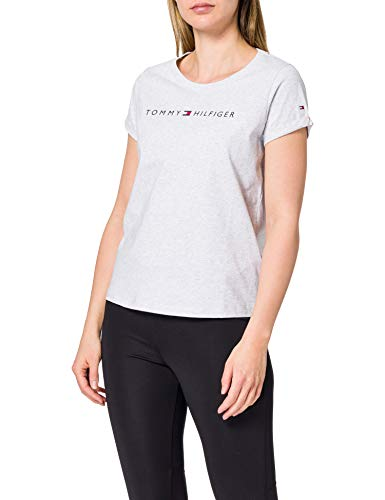 Tommy Hilfiger RN tee SS Logo, Hielo/Gris/Htr, L para Mujer