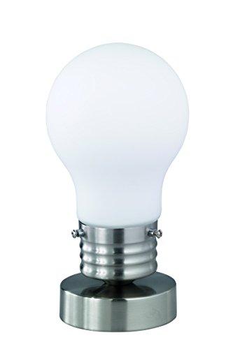 Reality lampen tafellamp in mat nikkel, glas gesatineerd in gloeilampvorm, 1x 14 maximaal 40 W exclusieve LM, hoogte: 21cm diameter 11 cm, wit, R50301007