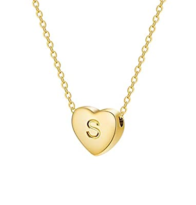 Monily Dainty Heart Initial Necklace Letters S Alphabet Pendant Necklace Small Heart 18K Real Gold Plated Personalized Necklace for Girl Women