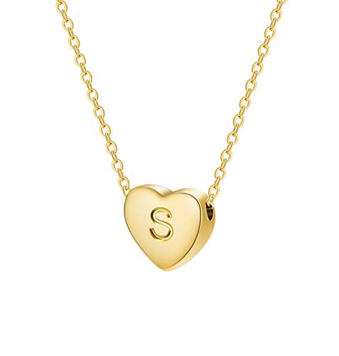 Dainty Heart Initial Necklace Letters S Alphabet Pendant Necklace Small Heart 18K Real Gold Plated Personalized Necklace for Girl Women