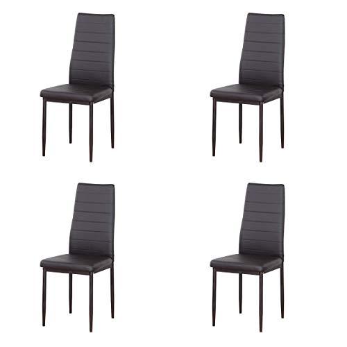 EDLMH - Juego de 4/6 sillas de comedor de piel sintética con respaldo alto y patas metálicas para comedor, salón, restaurante (4, marrón)