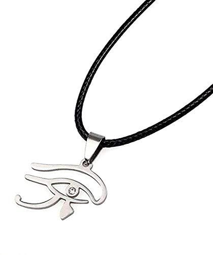 YOUZYHG co.,ltd Collar Ojo de Horus Colgante de Acero Inoxidable con Cuerda Negra y Diamantes de imitación para Mujeres Joyería egipcia Amueling