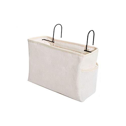 GTRR Dortoir De Chevet Suspendu Sac De Rangement en Toile Sac Suspendu De Chevet Bureau Divers Sac De Rangement Salon Canapé Chaise Tabouret Sac De Rangement,Blanc