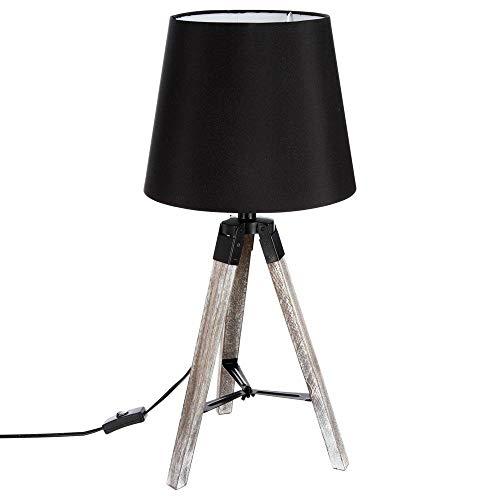 Lampe sur trépied - Esprit industriel - pied en bois - abat-jour NOIR