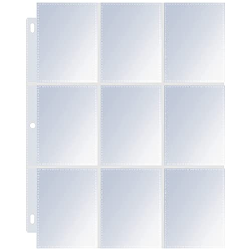 38 Pack 9 Pocket Page Protector Standard Transparent Card Sleeve Page Baseball Pages 3 Ring Binder Apply to Pokemon Trading Cards Business Cards Game Cards Coupon Sport Cards
