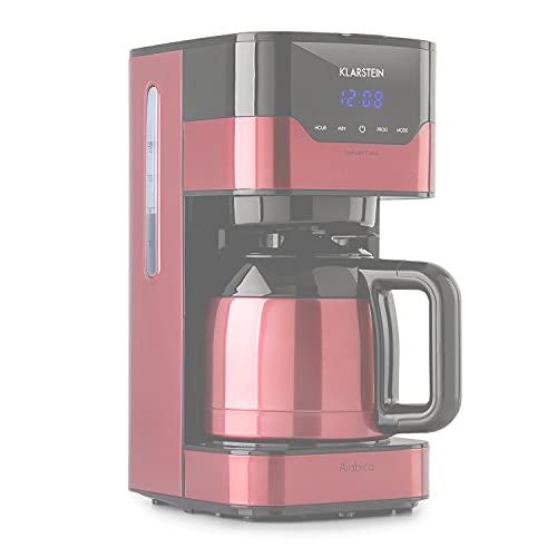 Klarstein cafetera Arabica con filtro - máquina de café con filtro, 800 W, control EasyTouch, 1,2 L, hasta 12 tazas, con filtro permanente, escarlata