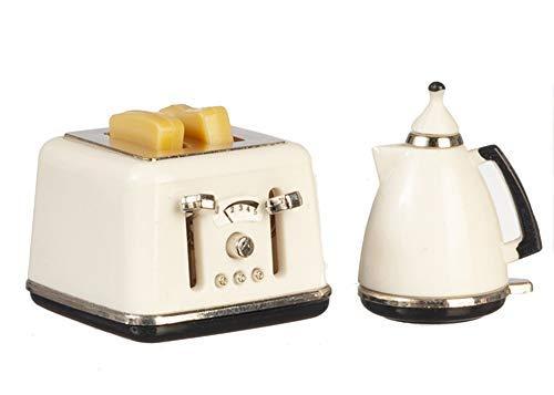 Melody Jane Puppenhaus Modern Weiß Wasserkocher & Toaster Miniatur 1:12 Küchenzubehör