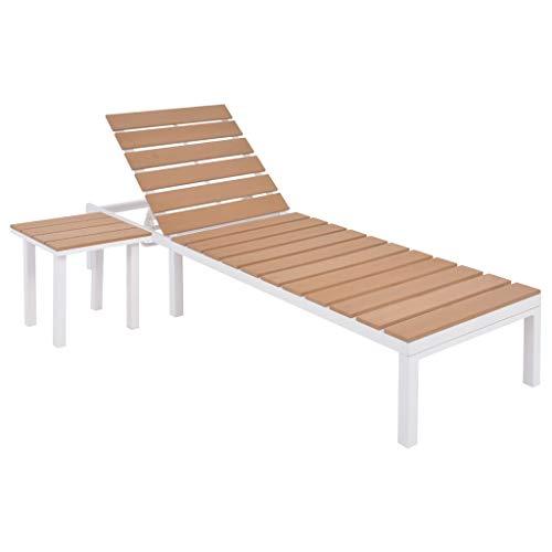 vidaXL Sonnenliege mit Tisch Gartenliege Relaxliege Gartenmöbel Liege Liegestuhl Strandliege Freizeitliege Aluminium WPC Weiß Braun
