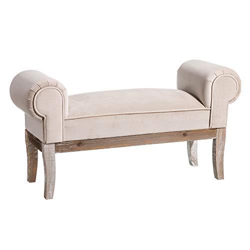D,casa - Banqueta pie de Cama tapizada de Terciopelo y de Madera clasica Beige de 104x30x54 cm