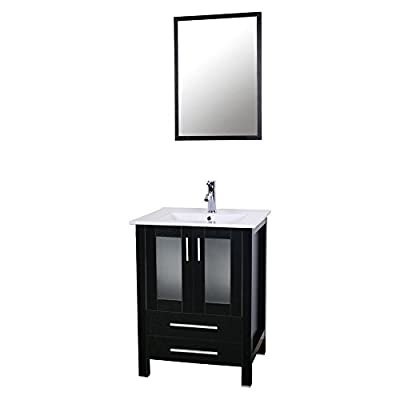 """U-Eway 24"""" Bathroom Vanity with Ceramic Undermount Vessel Sink Combo,Chrome Faucet Drain with Overflow,Bathroom Cabinet with Mirror,2 Drawers,20-inch Deep Cabinet &1.5 GPM 30% Water Saving Faucet"""