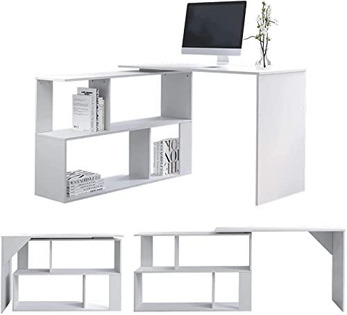 Escritorio para computadora, escritorio de oficina blanco en forma de L, escritorio para juegos de PC, escritorio de madera giratorio para estaciones de trabajo, mesa de estudio grande para el hogar