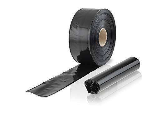 WPTrading - 1 x Rolle Schlauchfolie 150 mm x 250 lfm (100my) Schwarz - LDPE-Folie als spezielle Beutel Verpackung lebensmittelecht - Individuelle Folienbeutel Verpackung für Lebensmittel