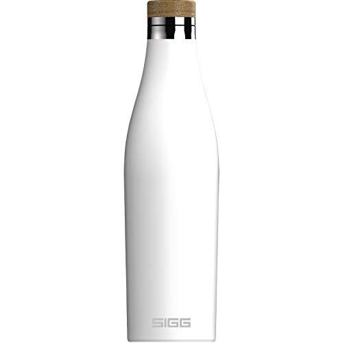 SIGG Meridian White Gourde isotherme (0,5 L), gourde acier inoxydable étanche et sans substances nocives, bouteille d'eau pour boissons chaudes & froides