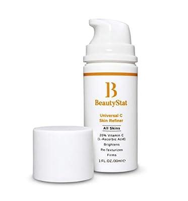 BeautyStat Universal C Skin Refiner Serum, Vitamin C 20% Pure L-Ascorbic Acid, Face & Eye Cream, Anti Aging Facial Cream, Anti Wrinkle, Fragrance Free, 1 oz. / 30ml
