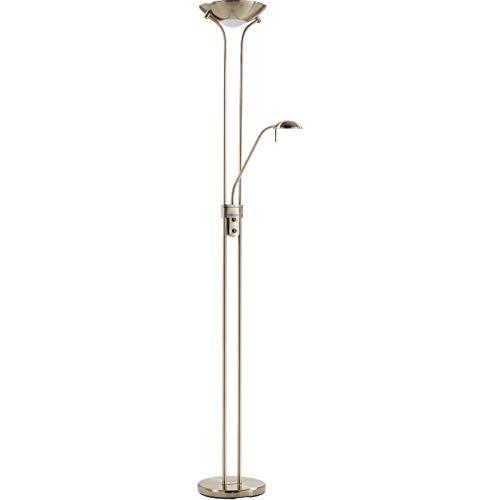 LAMPARA DE PIE REGULABLE CON LECTOR, LED 18W+5W | NIQUEL, MARRÓN, CUERO (ORO ENVEJECIDO)| LED 18W + 5W LUZ C�LIDA (Cuero (Oro Envejecido))