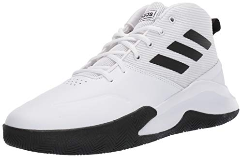 adidas Men's OwnTheGame Basketball Shoe, White/Black/White, 9 M US