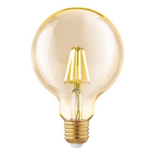 Lampada EGLO LED E27, lampadina vintage ambra, globo a LED per illuminazione retrò, 4 watt (equivalenti a 30 watt), 330 lumen, LED E27 bianco caldo, 2200 Kelvin, lampadine LED, lampadina Edison G95, diametro 9,5 cm